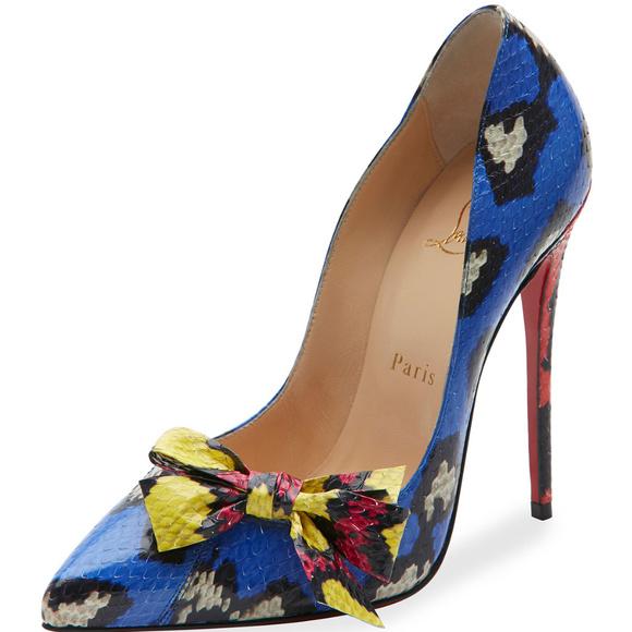 f23170840023 Christian Louboutin Shoes - Christian Louboutin Blue Madame Menodo Snakeskin